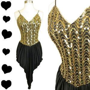 Vintage 80s Gold SEQUIN Black Party Prom Dress S M